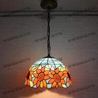 Handmade Vintage Tiffany Romantic Sunflowers Led E27 Pendant Light For Dining Room Coffee Bar Resurant 30