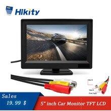 Hikity monitor do carro tft lcd tela colorida 2 entradas de vídeo 2 suportes para câmera reversa backup vista traseira do carro dvd monitor