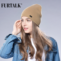 c2a0b4bcd7e FURTALK Autumn Winter Watch Cap Woman Wool Knit Beanie Cap Braided Hat