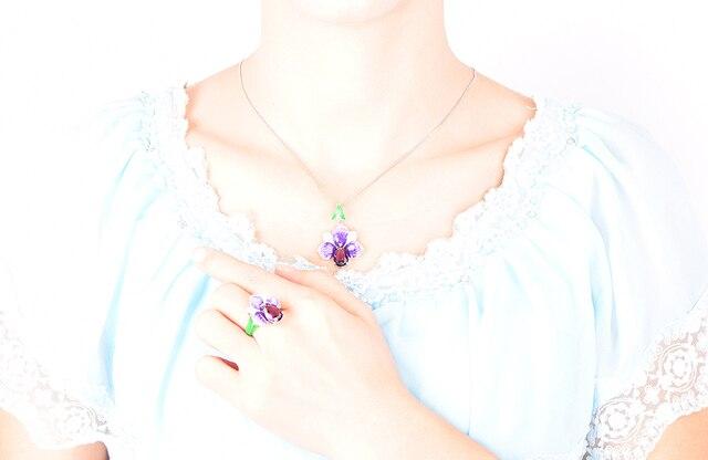 женский кулон с эмалью в виде цветка rainmarch серебряное ожерелье фотография