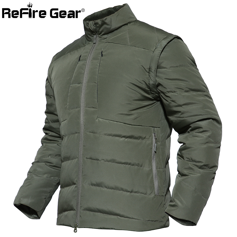 ReFire Gear <font><b>Winter</b></font> Warm Tactical Padded <font><b>Jacket</b></font> Men Waterproof <font><b>Military</b></font> <font><b>Style</b></font> Army <font><b>Jacket</b></font> Sleeves Detachable Outerwear Parka Coat image