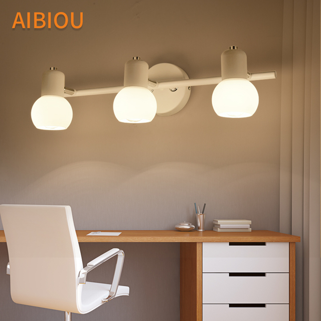 AIBIOU Modern Led Wall Lights For Barthroom White Mirror Light Simple Wall Sconce Reading Light E14 Hotel Lighting