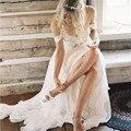 Простой Длиннее Шифоновое Свадебное Платье 2016 Милая Пляж Свадебные Платья а-Линия Boho Чешские Свадебные Платья плюс размер Свадебные Платья