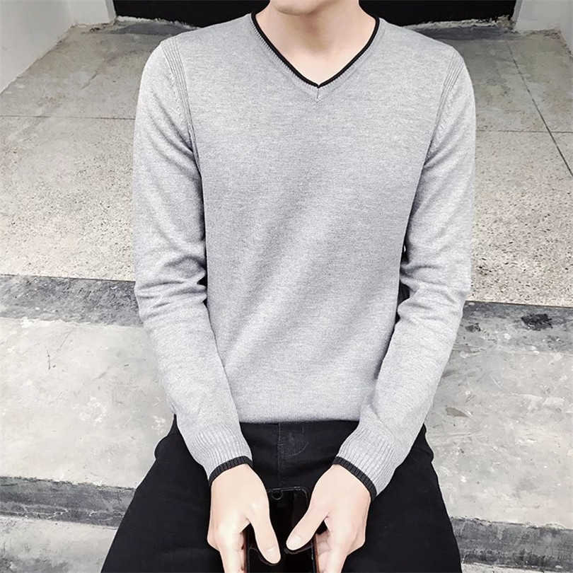 2017Knitted Sweaters Men Brand pullovers Fashion Style Autumn Winter solid  Quality Pullover Men V-Neck Casual Men Sweater XXL