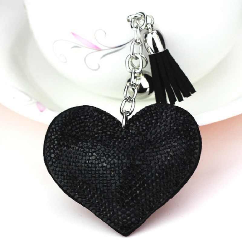Naomy & ZP น่ารักหัวใจพวงกุญแจกระเป๋าอุปกรณ์เสริม Pu หนังพู่กุญแจทองโลหะคริสตัล Key Chain Charm จี้กระเป๋า