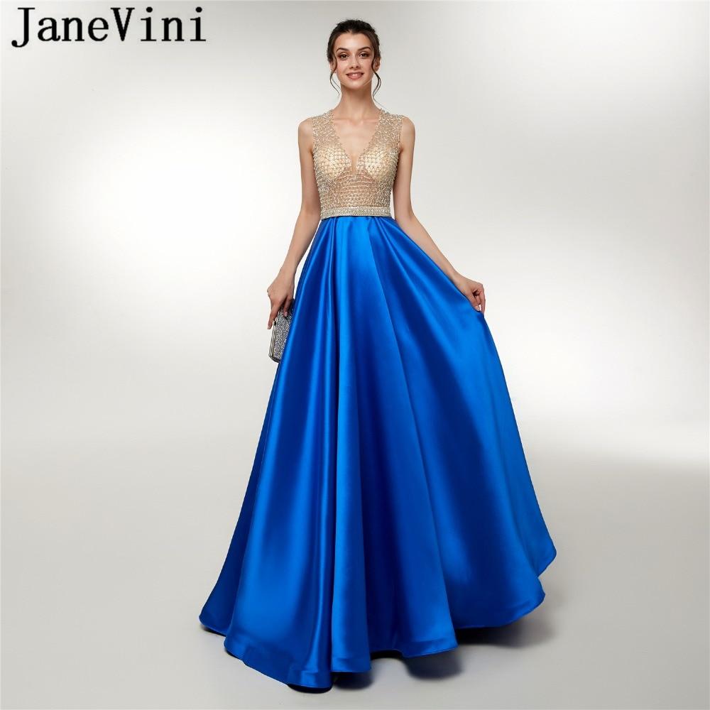 JaneVini Sexy Deep V Neck Satin   Prom     Dresses   Sleeveless Heavy Beading Illusion A Line Sweep Train Luxury Arabic Long Blue   Dress