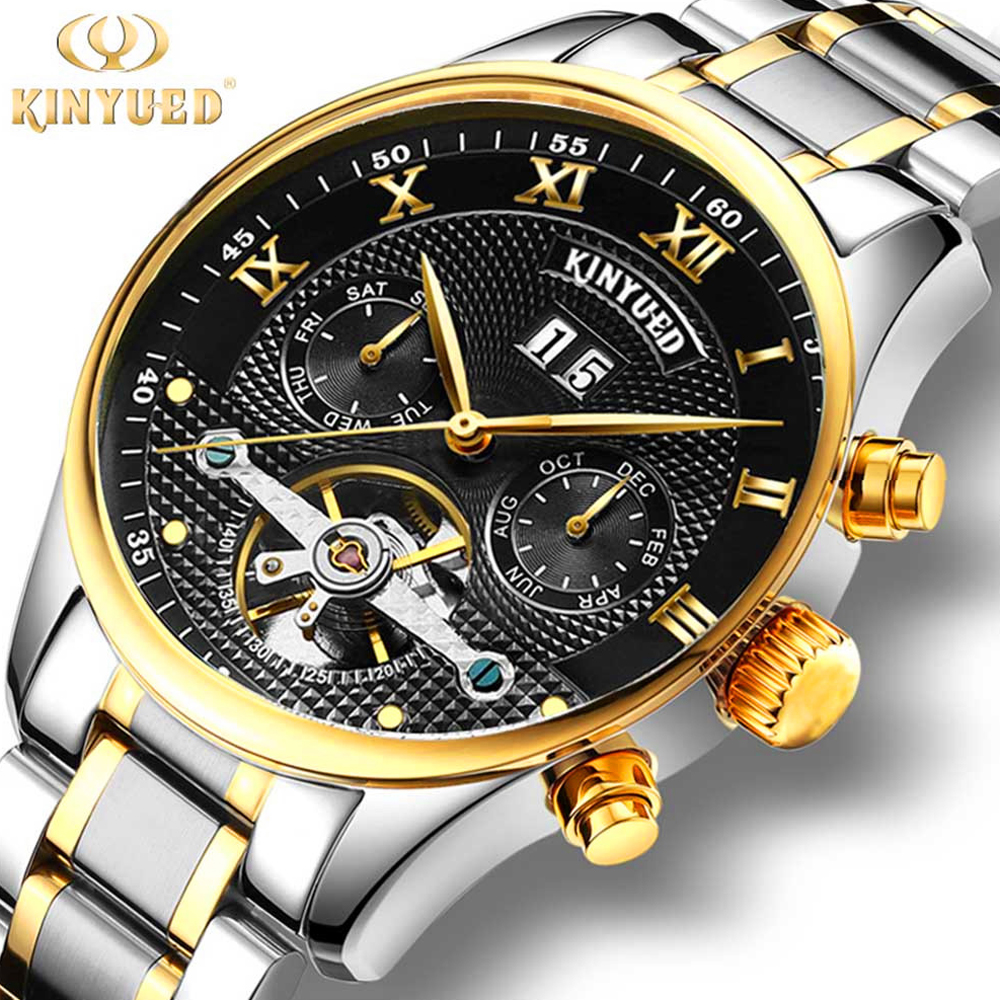KINYUED Skeleton Tourbillion Mechaniccal Watches Relogio Self Wind Luxury Stainless Steel Strap Business Mens Mechanical Watch binger skeleton tourbillion mechaniccal watches relogio self wind luxury full steel strap business mens mechanical watch 2017