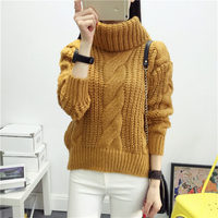 12 Color Hot New Autumn Winter Women Cotton Elastic Twist Sweater Lady Knitted Long Sleeve Turtleneck