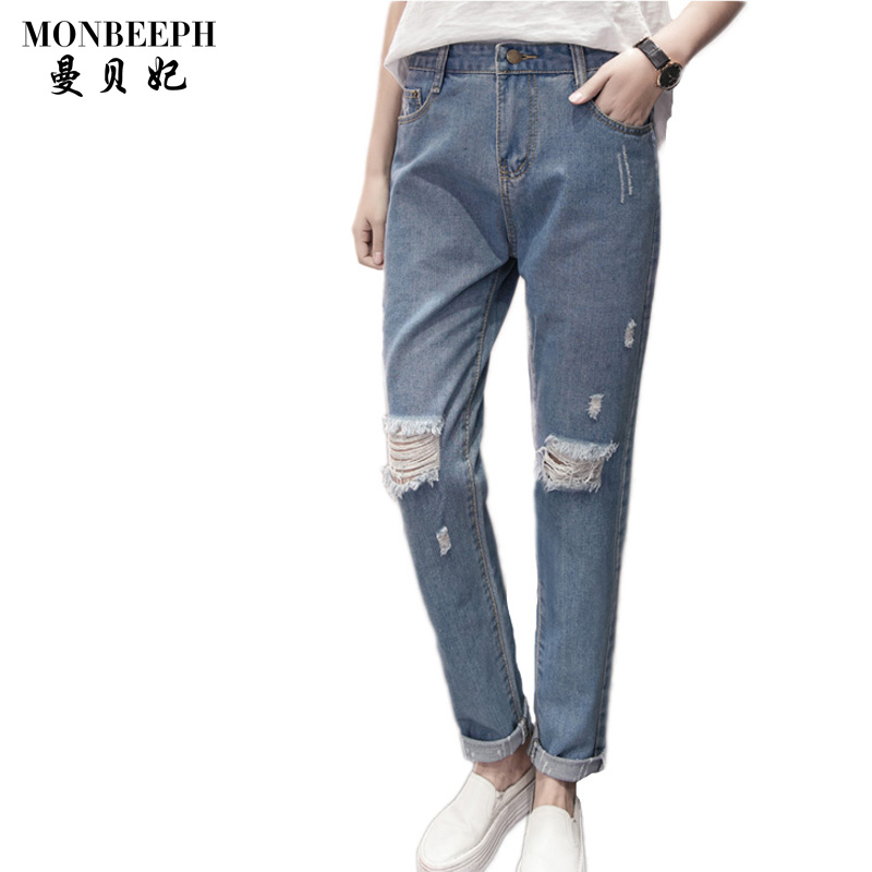 2017 new Women Fashion Denim Trousers Blue Knee Ripped Skinny Cropped Pants high Waist Button Fly Jeans plus size S-5XL ultrafire u 100 4 led 4 mode 2400lm white bike light headlamp black deep pink