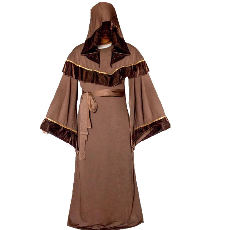 Medieval Religious Monk Priest Costume For Men Halloween Sorcerer Friar Tuck Male Hooded Gown Robe Cape Shawl Cloak Fancy Outfit