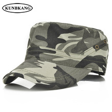 New Summer Camouflage Flat Top Cap Men Baseball Hat Breathable Casual Solid  Cotton Male Sun Snapback 387875336cd9