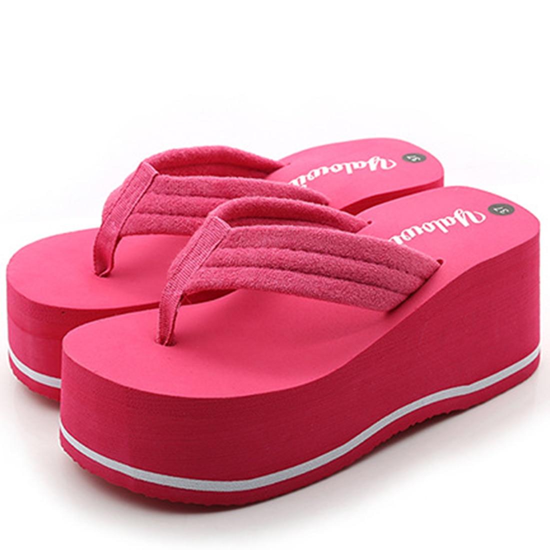2017 Roman Style Summer Women Ultra High Heels wedge slippers Patchwork Bright Beach Flip Flops Platform