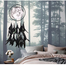 Oil Painting Wolf Totem Dream Catcher Feather Hanging Car Ornaments Wind Chimes Outdoor Dreamcatcher Home Kids Wall Decoration