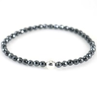 Silver Faceted Hematite Bracelet Stacking 4 MM Stretch Bracelet 925 Sterling Silver Round Beaded Bangle UK