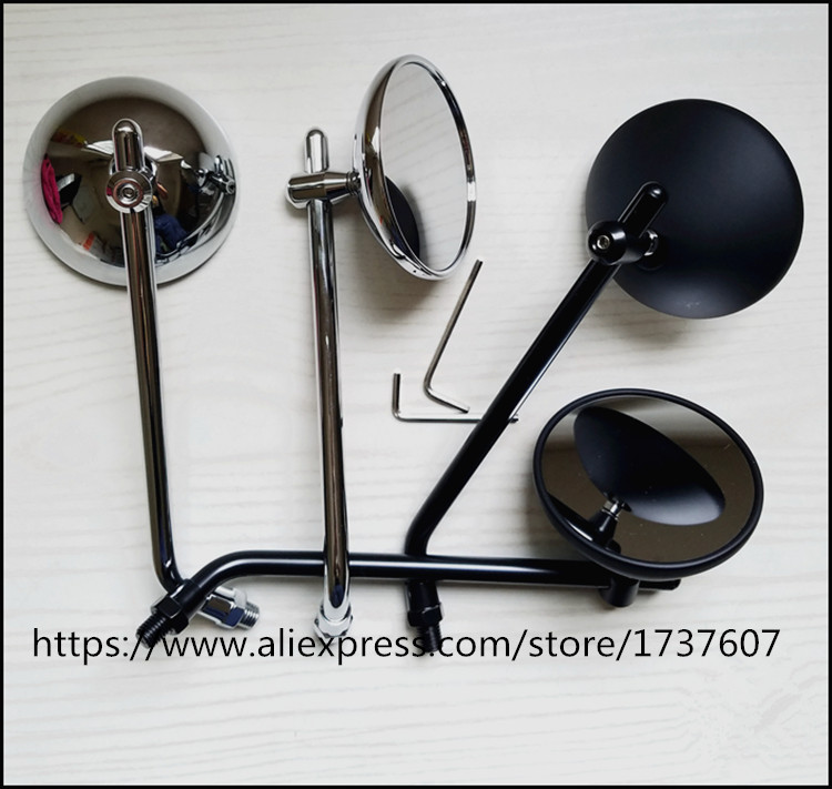 1 pair Vintage high quality motorcycle rearview mirror Motorcycle Rearview Silver and black 10mm screw qc m prince universal 0 8mm motorcycle rearview mirror silver black pair