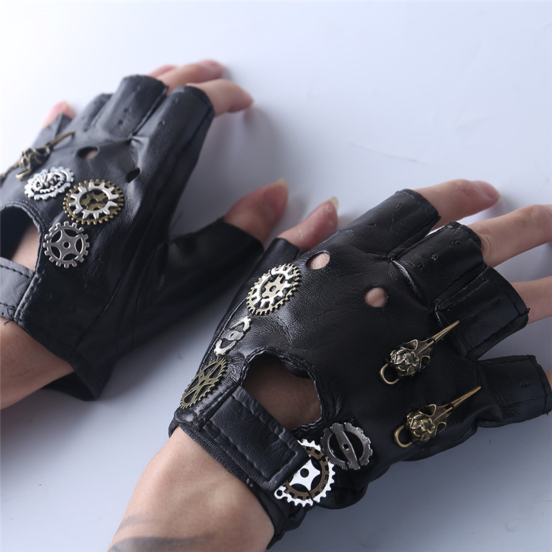 Boys Costume Accessories Steampunk Pu Leather Bandage Glove Retro Arm Bracelet With Compass Screw Gear Halloween Costumes Punk Style Accessory