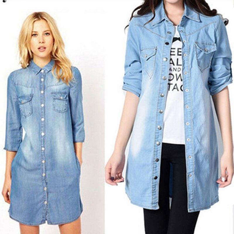 hot sale 2017 women denim shirt chemise jean's femme jeans blouse