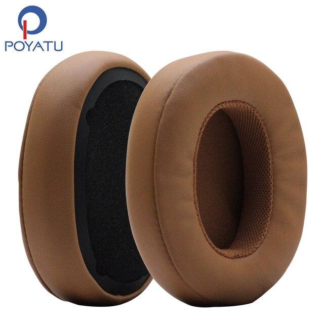 POYATU Ohrpolster für Skullcandy Brecher Bluetooth Drahtlose Kopfhörer Grau/Tan Braun Ersatz Ohr Kissen Ohr pads Tassen Reparatur