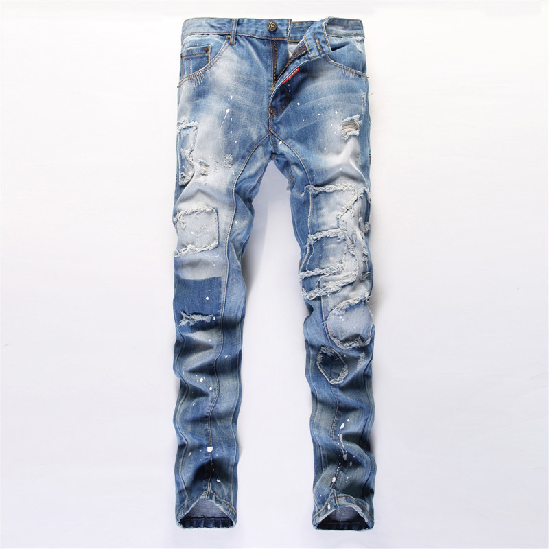 Men Jeans Casual Thin Summer Straight Slim Fit Blue Jeans Stretch Denim Pants Trousers zengli blue jeans men new straight casual jeans men s loose elasticity splice cowboy denim trousers man jeans plus size 46 48
