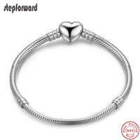 925 Sterling Silver Heart Clasp Charm Bracelet Good Quality Popular Handmade Polish Design Heart Simple Fashion Style Jewelry