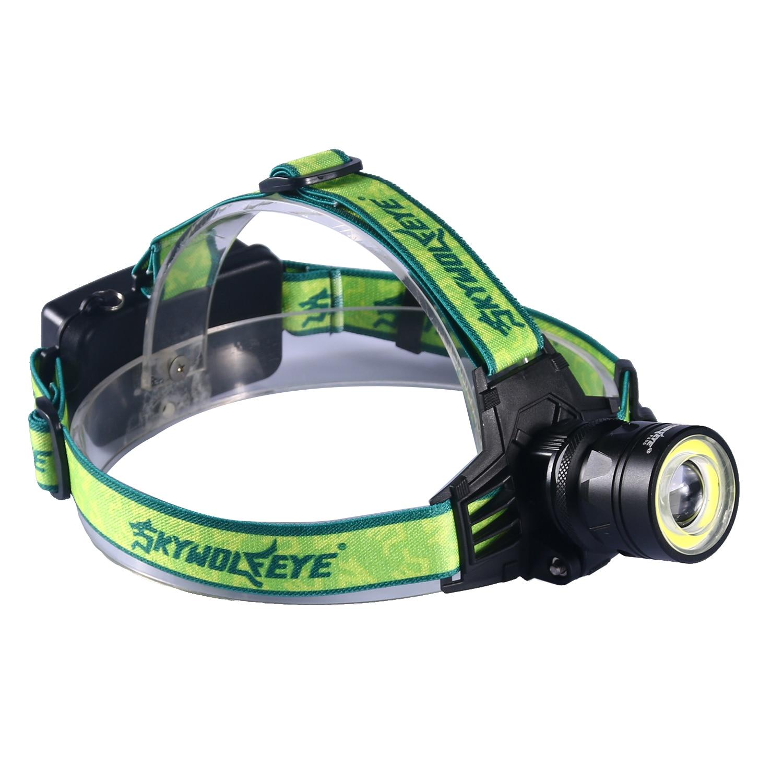 skywolfeye 1000Lm T6+COB LED Headlamp Head Light Torch Flashlight outdoor working hiking equipment Lamp 2*18650 Batteries P20
