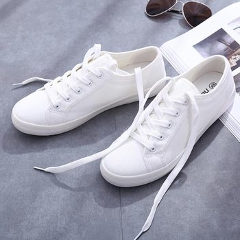 цена на Classic white shoes woman casual canvas shoes female summer women sneakers lace-Up flat trainers fashion women vulcanize shoes