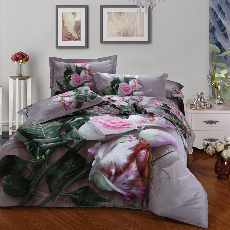pink white flowers 3d rose bedding set queen size duvet covers flat bed sheets with pillowcase - Queen Size Duvet Cover
