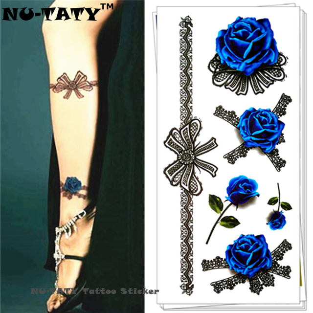 Nu-TATY Blue Lover Rose 3d Temporary Tattoo Body Art Flash Tattoo Stickers 19x9cm Waterproof Tatoo Home Decor Wall Sticker