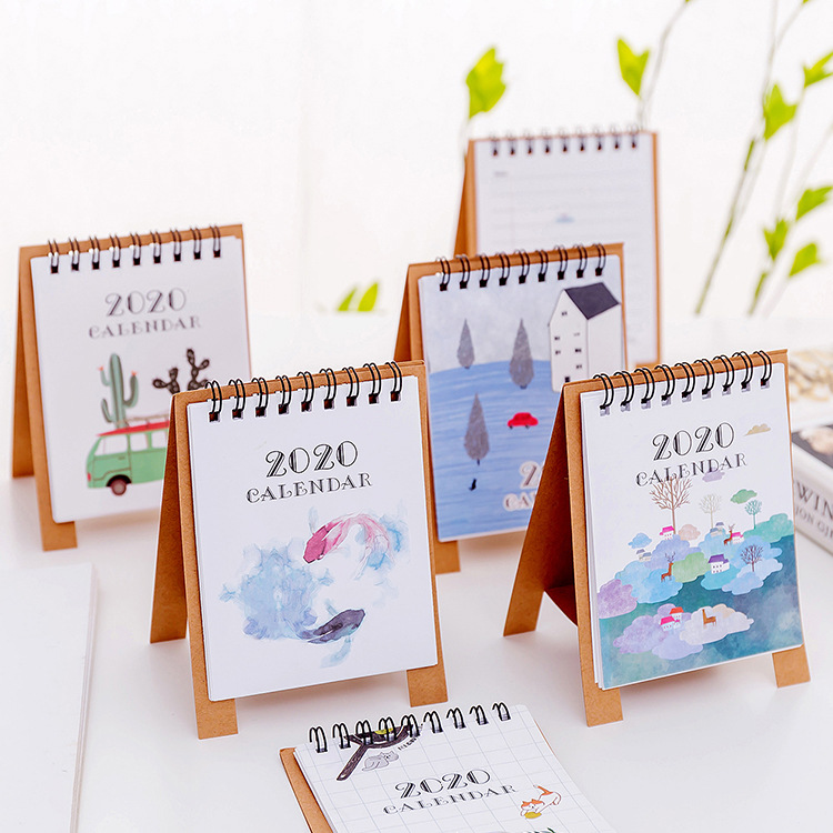 Hand Drawing 2020 Fresh Cartoon Mini Flamingo Desktop Paper Calendar Dual Daily Scheduler Table Planner Yearly Agenda Organizer