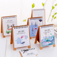 Ручной рисунок свежий мультфильм Мини Фламинго Настольный бумажный календарь двойной ежедневный планировщик настольный планировщик годовой Органайзер