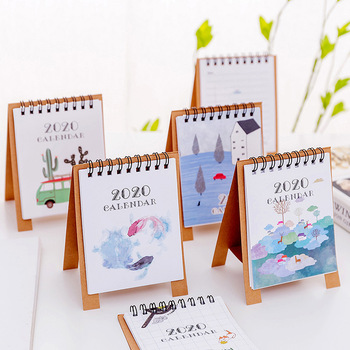 Hand Drawing 2020 Fresh Cartoon Mini Flamingo Desktop Paper Calendar dual Daily Scheduler Table Planner Yearly Agenda Organizer