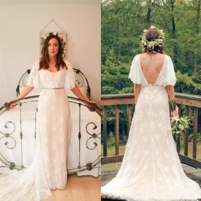 White Ivory Lace Cap Sleeves Wedding Dresses Country Bohemia Bridal Gown Custom