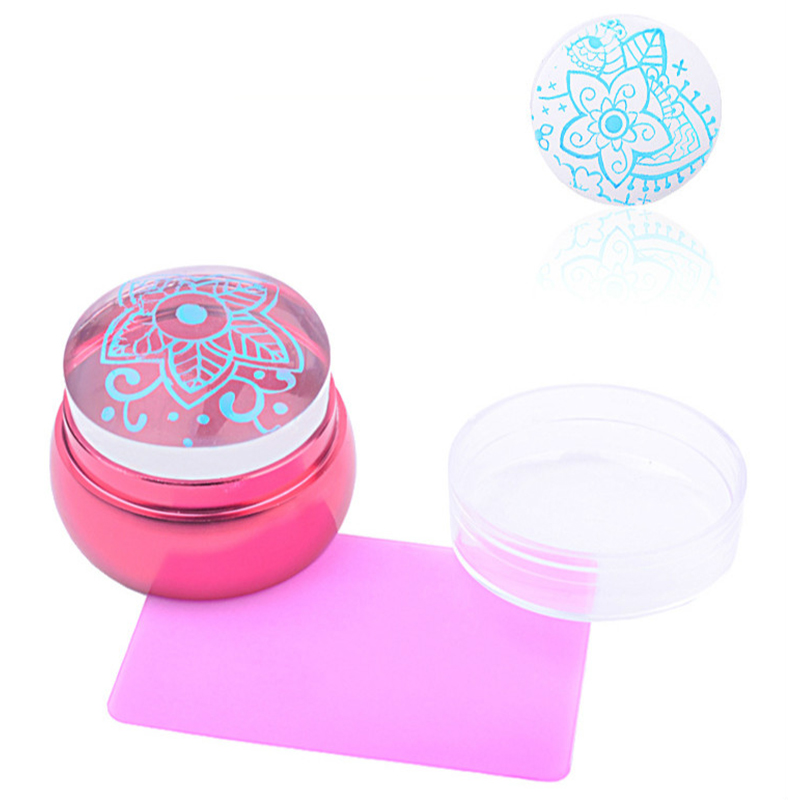 2pcs/set 3.6cm Pink Clear Silicone Jelly Stamper With Cap Nail Art Stamper Scraper Easy To Clean Nail Tool Good For Antipyretic And Throat Soother Nails Art & Tools