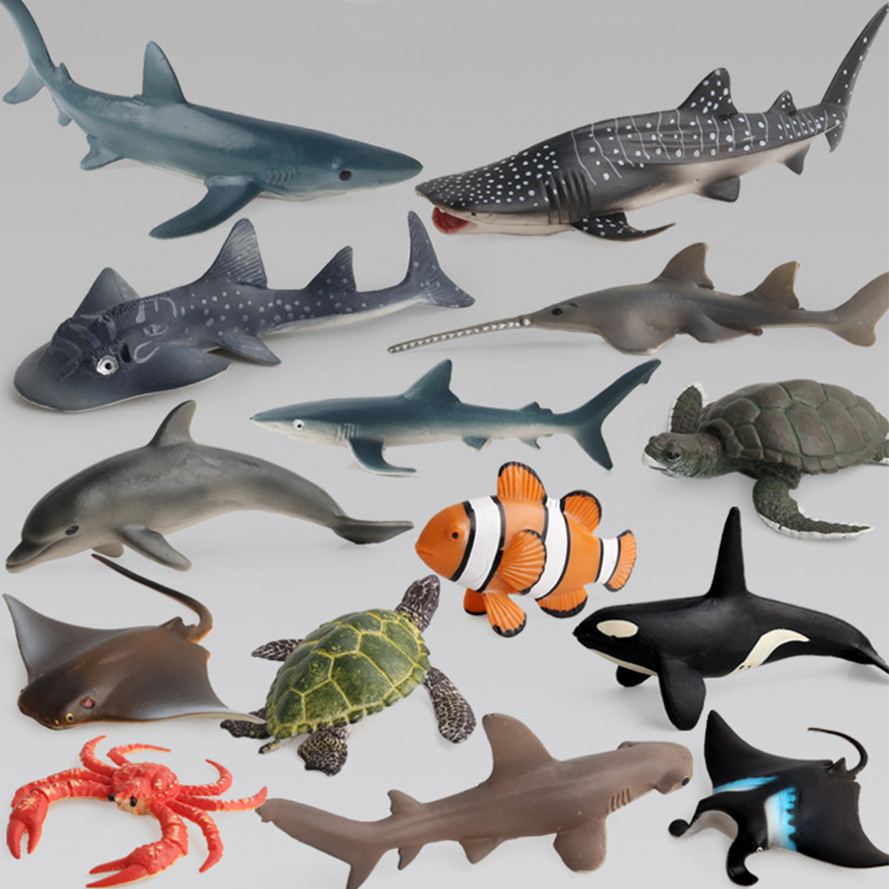 Ocean Sea Life Simulation Animal Model Sets Shark Whale Turtle Crab Dolphin Action Toys Figures Kids Educational Collection Gift