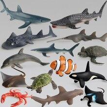 Vida Marítima océano animales de simulación para niños, conjunto de modelos de tiburón, ballena, Tortuga, cangrejo, Delfín, figuras de acción de juguete, regalo de colección educativo
