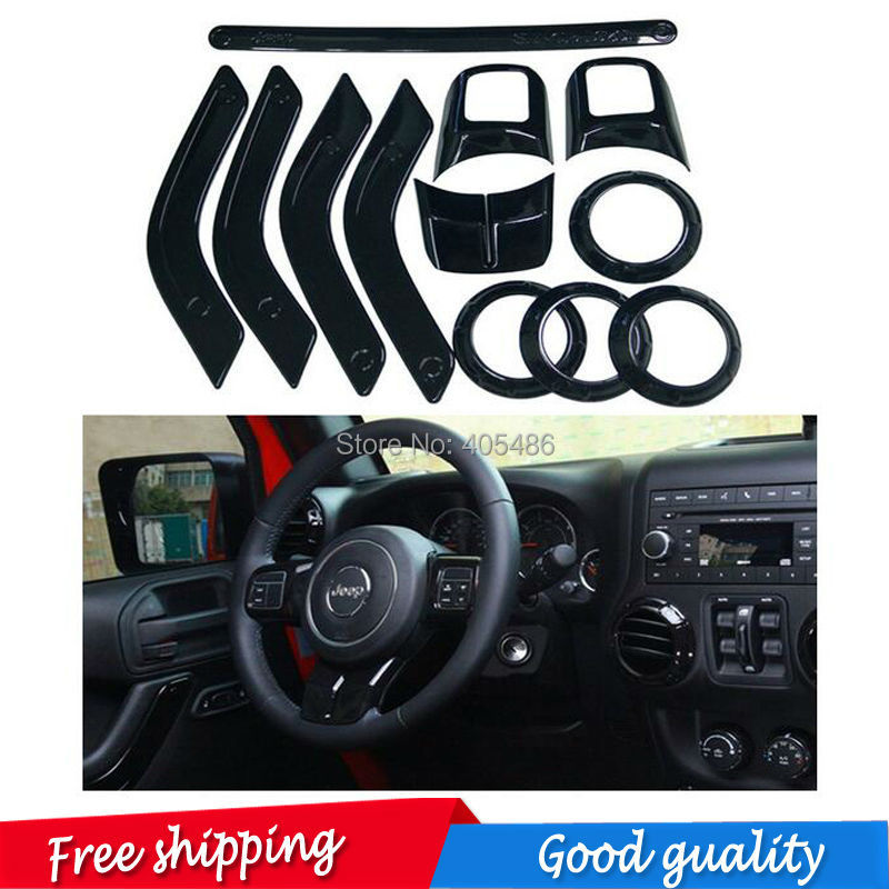 12 pic black / red Full Set Interior Decoration Trim Kit with Special Mark Logo For Jeep Wrangler Cab 4 Door 2011 - 2015