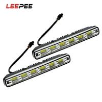 LEEPEE 6leds 2Pcs DRL Daytime Running Light Headlights Head Lamp Car Styling DC 12V 7W White