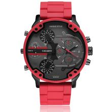 цена на Cagarny Quartz Watch For Men Luxury Cool Big Case Red Silicone Steel Band Sports Wristwatch Man Clock Military Relogio Masculino