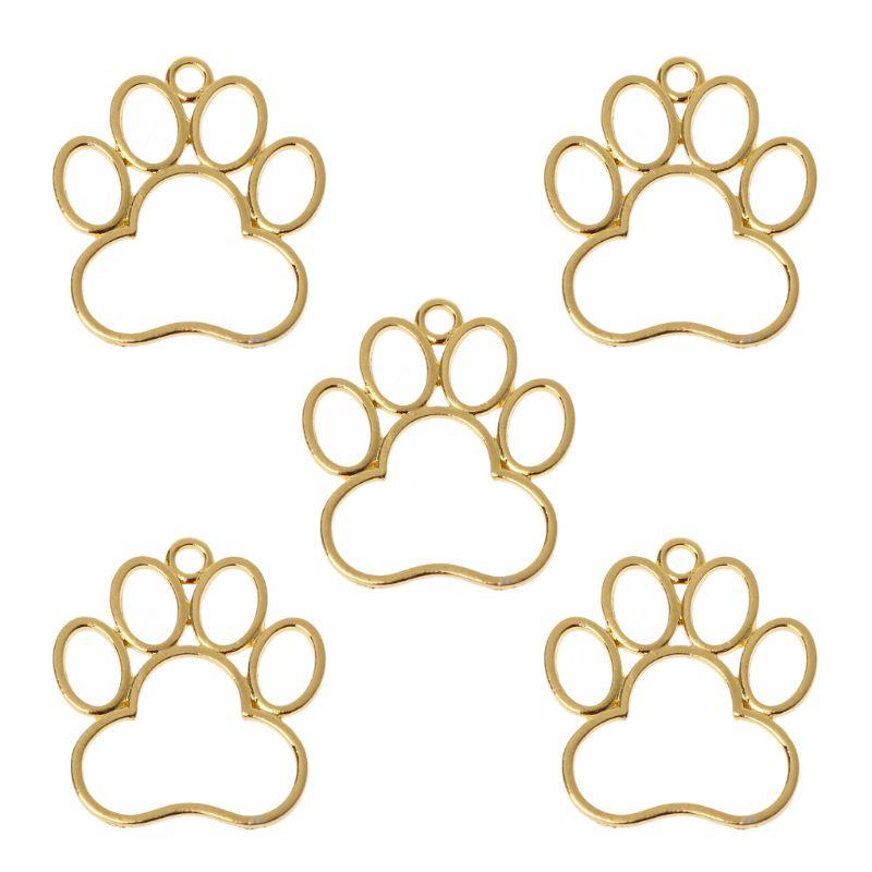5Pcs Pet Dog Footprint Blank Frame Pendant Open Bezel Setting UV Resin Jewelry