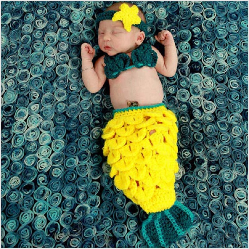Newborn Baby Girl Photo Shoot Mermaid Sleeping Bag Outfits Props Accessories Infant Tiny Baby Crochet Photography Props Clothes