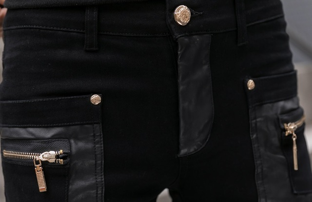 Fashion Men's Pant Faux Leather Jeans Spliced Denim Trousers Male Stretch Slim Fit Punk Stage Singer Motorcycle Casual Pants Men 4