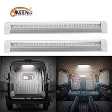OKEEN 2pcs Universal 12V LED Interior Light Bar 108LED Light Strip with ON/OFF Switch for RV Van Truck Lorry Camper Boat Caravan