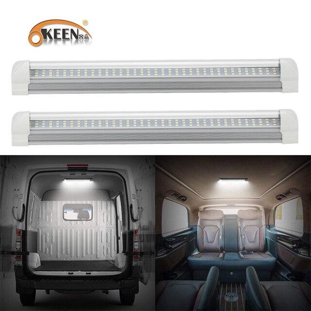 OKEEN barre lumineuse intérieure universel, 2 pièces, avec interrupteur marche/arrêt, 12V LED, 108LED, pour camping car, camion, camion, camping car, bateau, caravane