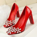 Nueva Primavera Bombas de la Boda de Moda Sexy Delgado Flores Rhinestone Zapatos de tacón alto Grueso Tacón Zapatos de tacón alto Shallow G9509-2