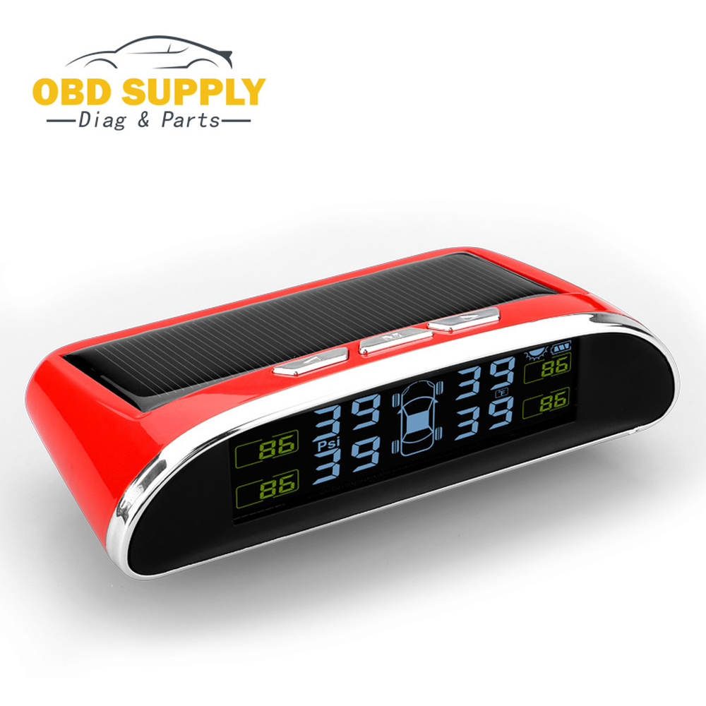Car Tire TPMS Pressure Monitor Car Alarm System Diagnostic Tool Wireless Solar-powered Color LCD Display Blue / Red / Black