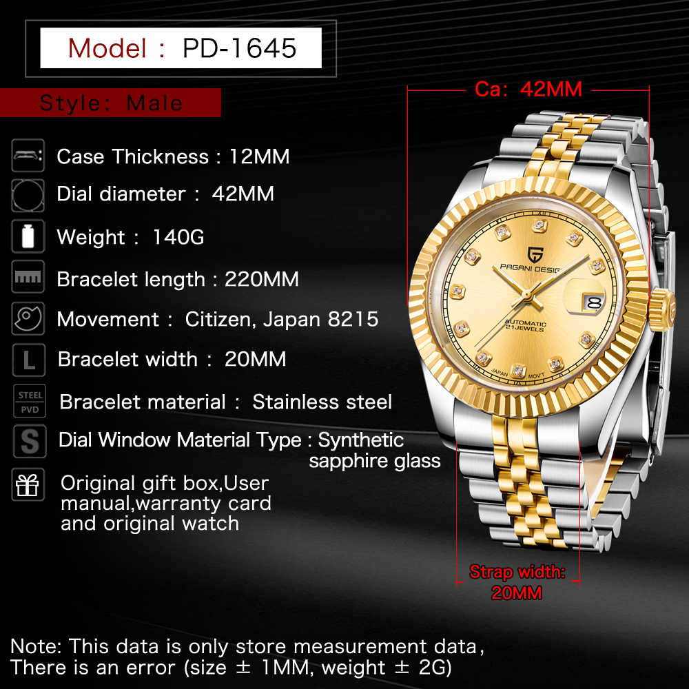 Diseño PAGANI reloj mecánico de marca de lujo para hombre reloj deportivo automático Retro resistente al agua reloj de acero completo reloj Masculino + caja