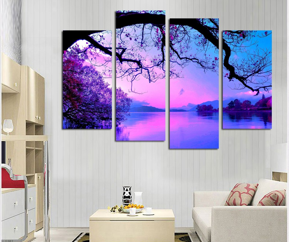 New 4 Pieces Canvas Paintings Printed Mountain Lake Natural Landscape Wall Art Modular Picture Living Room Bedroom Home Decor
