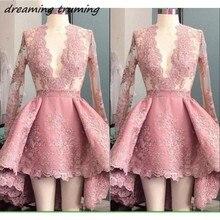 Элегантные Короткие мини-коктейльные платья с длинными рукавами сексуальное платье с v-образным вырезом и кружевной аппликацией пыльно-розовые торжественные платья для выпускного