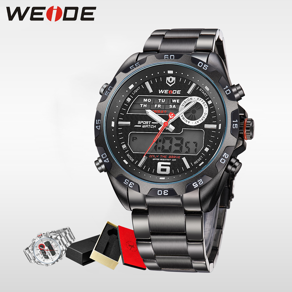 WEIDE luxury Analog Quality Stainless Steel Black Men Resistant Sport Alarm Quartz Men Military Watch Male Clock Relojes WH3403 weide luxury brand quartz sport relogio digital masculino watch stainless steel analog men automatic alarm clock water resistant