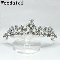 2017 New Cubic Zirconia Wedding Headband Bridal Head Jewelry Queen Crown Hair Flowers Tiaras Bridal Headpiece
